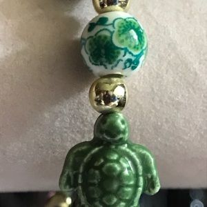 Jewelry - New Turtle & Floral Ceramic Bead Stretch Bracelet